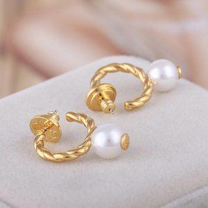 Tory Burch Pearl Metal Half-Open Earrings